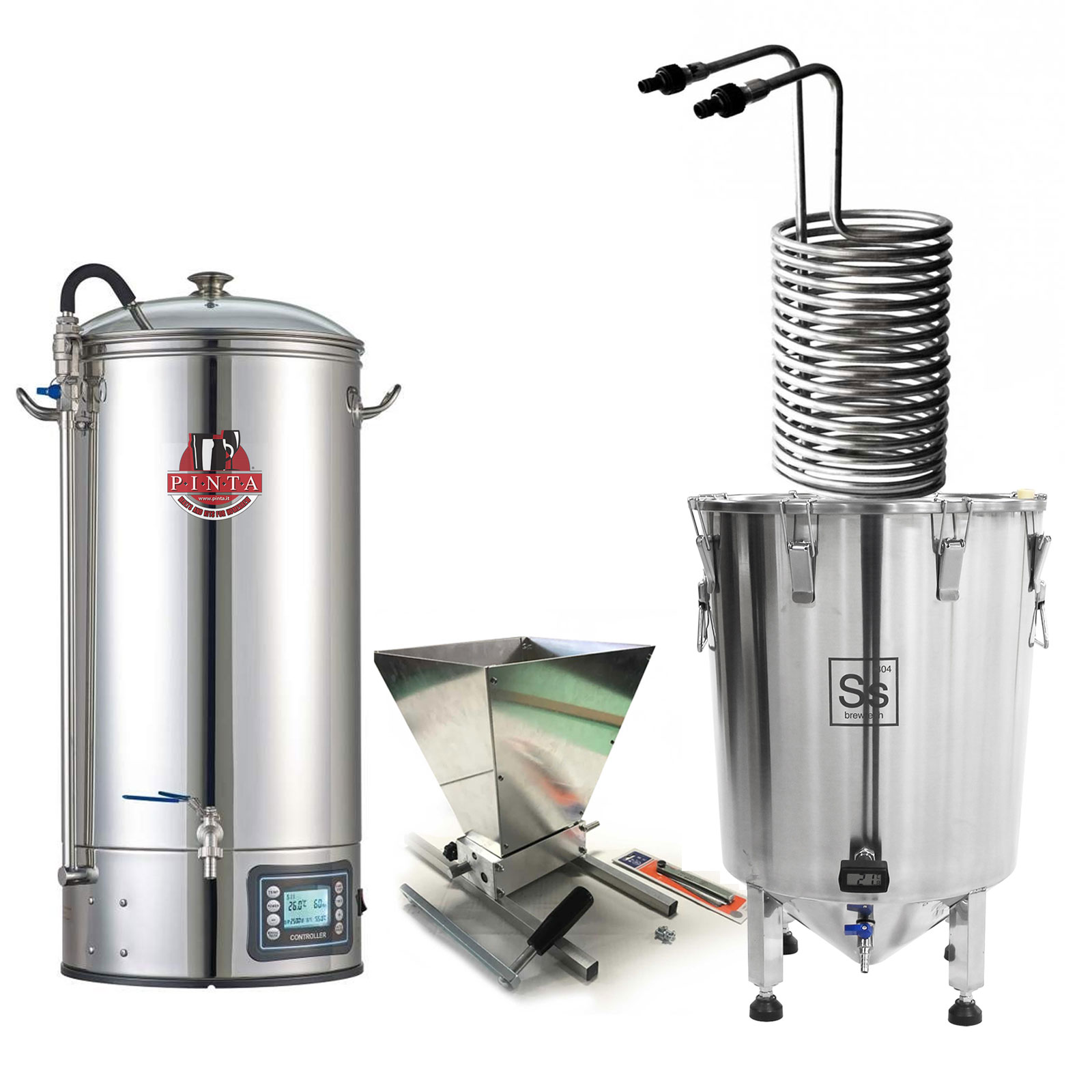 BrewMonster COMPLETE XXL Impianto All in one 50 litri + serpentina 50-70 + mulino a rulli homebrewer+ Brewbucket 14 GAL + 2 Kit Allgrain Pinta